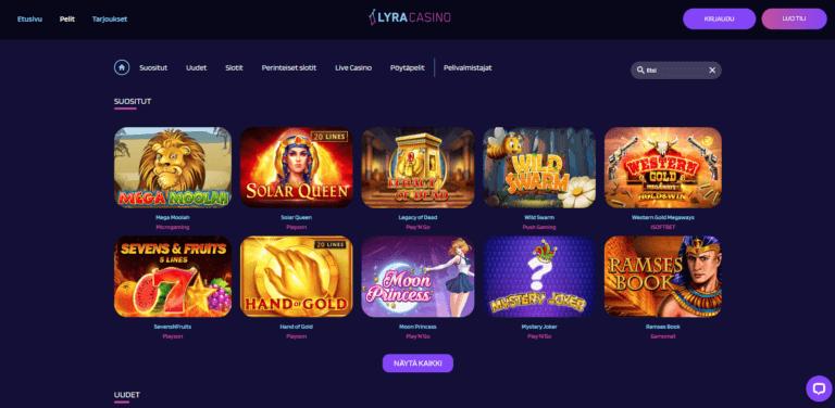 Lyra Casino Kuvankaappaus 3